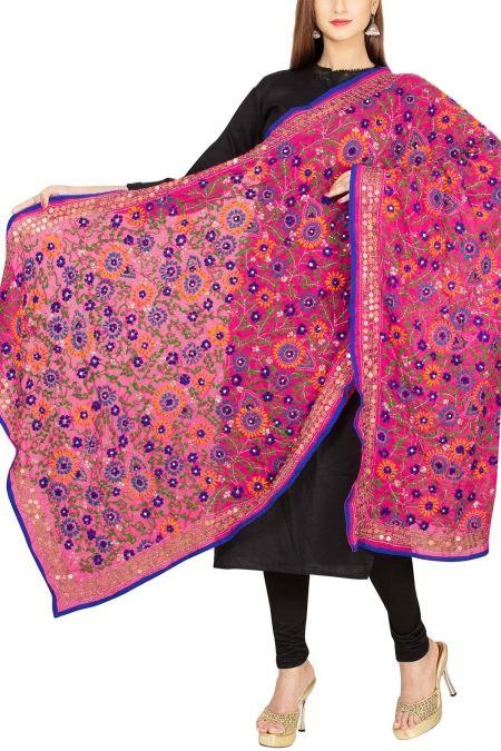 c7ff9771bf Deep Pink & Blue Georgette Phulkari Dupatta - Phulkari Phantasy Phulkari  Suit, Pink Blue,