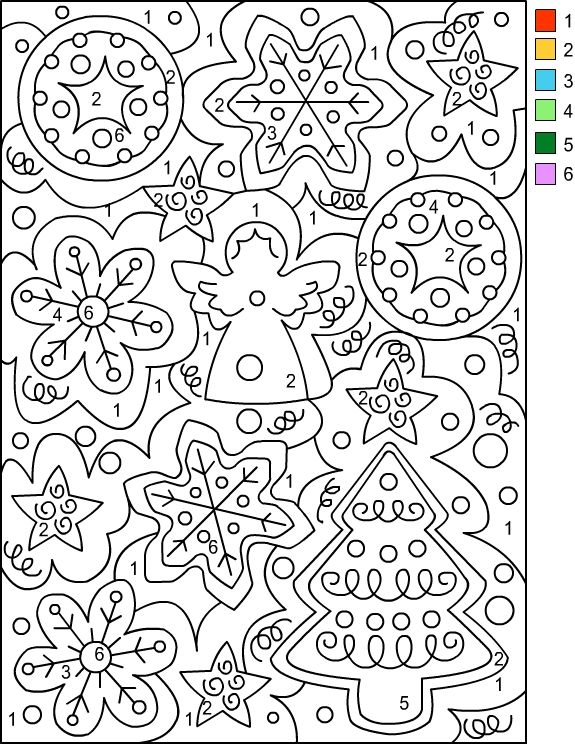Nicole\'s Free Coloring Pages: CHRISTMAS * Color by Number | Mom ...