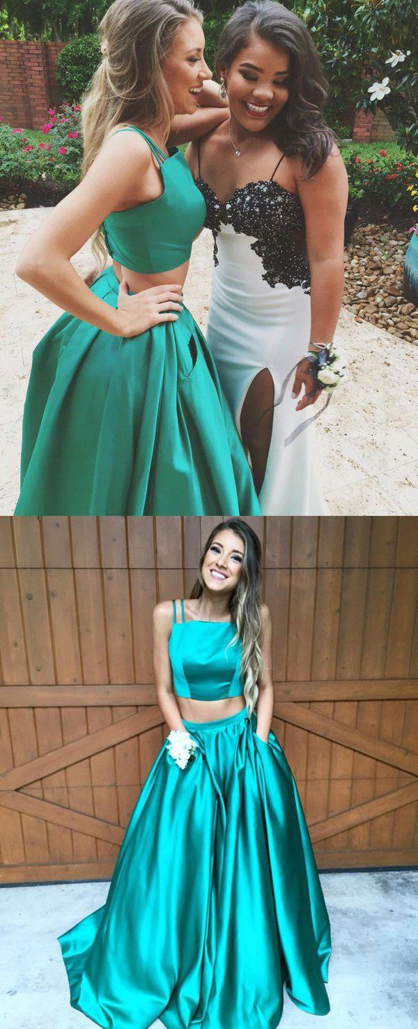 Two Piece Spaghetti Straps Hunter Satin Prom Dress With Pockets