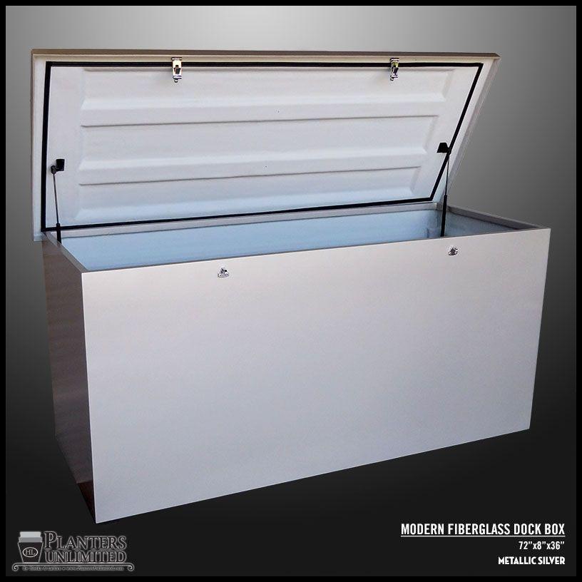 Modern Fiberglass Dock Box Metallic Silver Deck Dock Boxes
