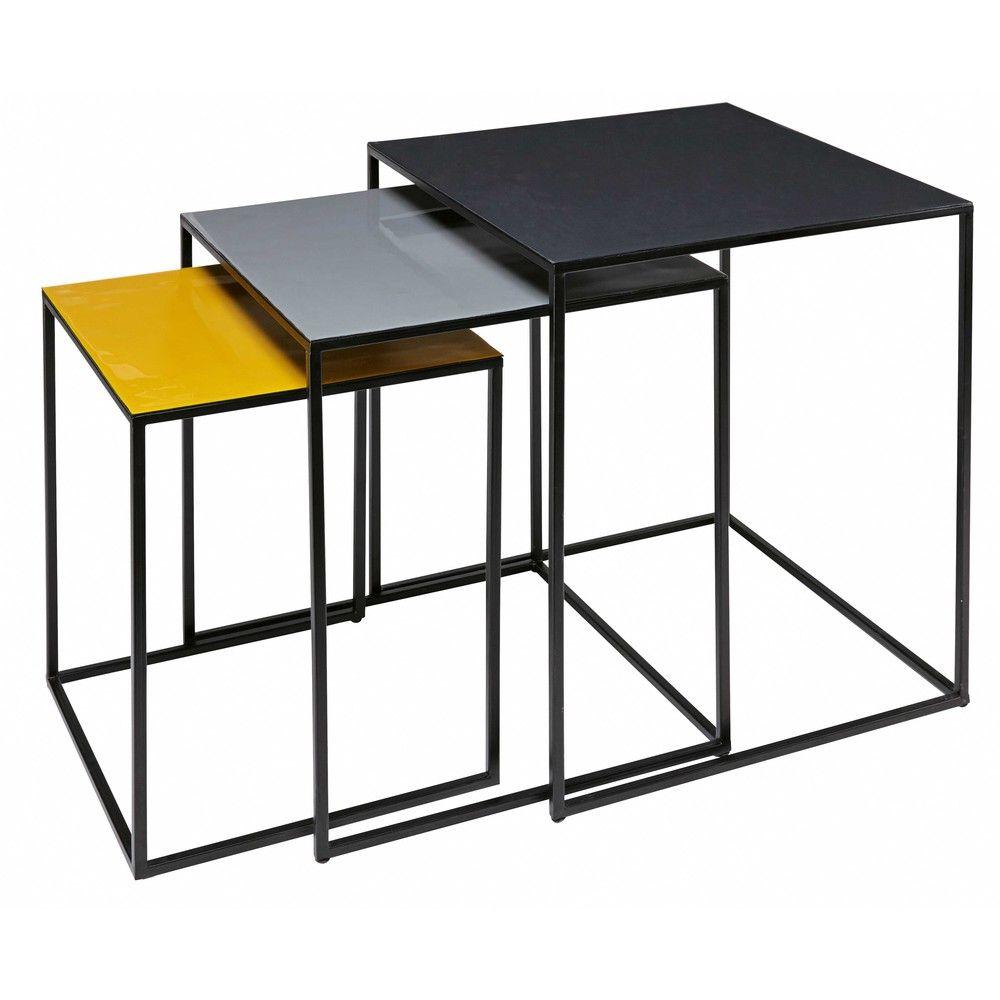 Beistelltische 3 Er Satz Aus Dreifarbigem Metall Maisons Du Monde Beistelltische Beistelltisch Metall Wohnzimmertische