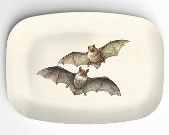Bats on 10 x 14 Halloween Platter by TheMadPlatters on Etsy