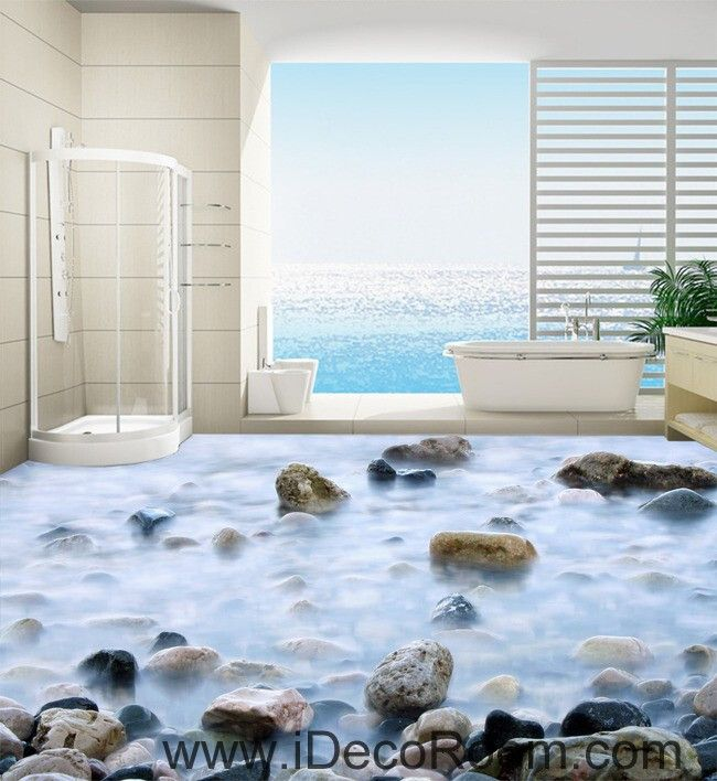 Fog stone rock 00028 floor decals 3d wallpaper wall mural for Bathroom mural wallpaper