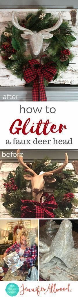 Ideas : How to make a glitter deer head Christmas Decor | Magic Brush | christmas decorating ideas with glittered deer figurine | DIY Glitter Projects #diy #diyhomedecor #holiday #christmas #home #christmasdecor #holidaydecor