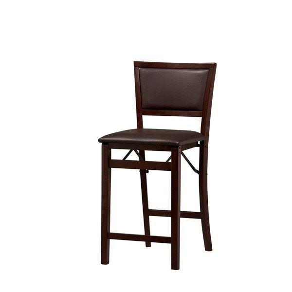 Linon Ciara Folding Counter Stool, Dark Brown Padded Back (Triena  Pad Back  Folding Center Stool 24) (Rubberwood)