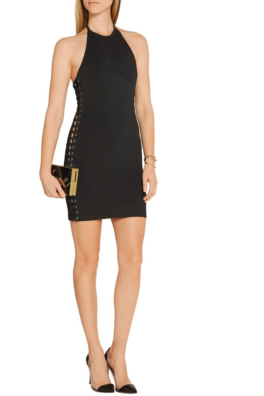 Shop on-sale Balmain Lace-up stretch-knit mini dress. Browse other