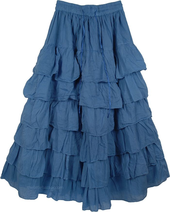 long skirts | Kashmir Blue Long Layered Skirt | Clothing | - Shop ...