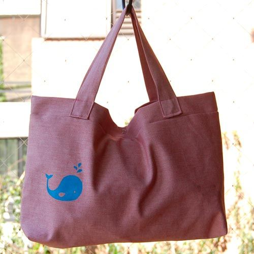 Bag with whale print. #stencil #FreezerPaper. Made by @Fran Bustamante