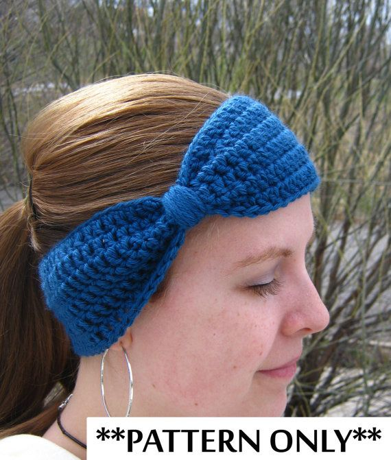 Crochet Pattern For Bow Headband Ear Warmer For Adult Women And