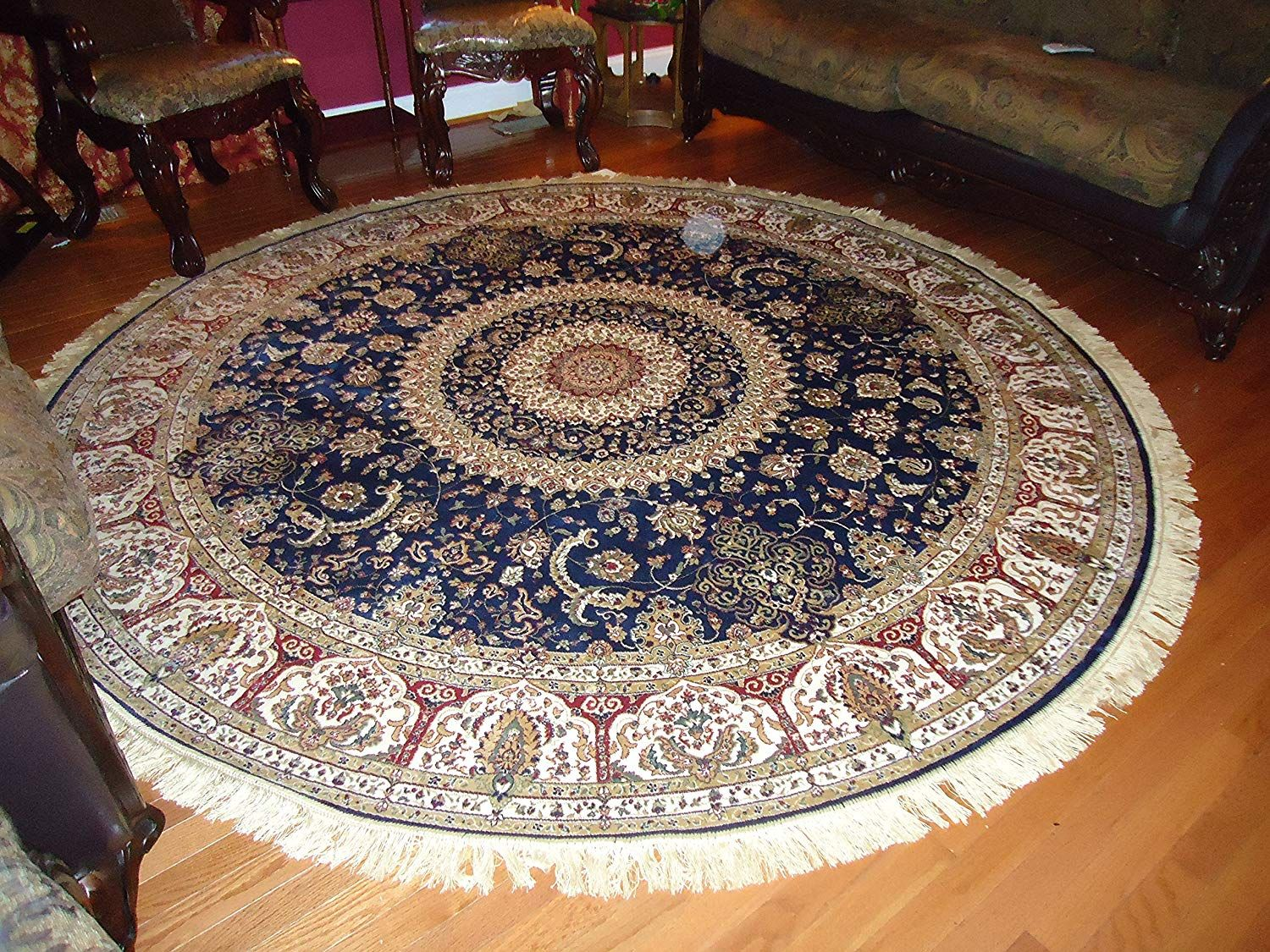 Amazon Com Luxury Large Round Rugs Silk Traditional Area Rugs Navy Circle Rugs Persian Area Rugs 8x8 Circle Rug Living Ro Blue Carpet Rugs Rugs In Living Room