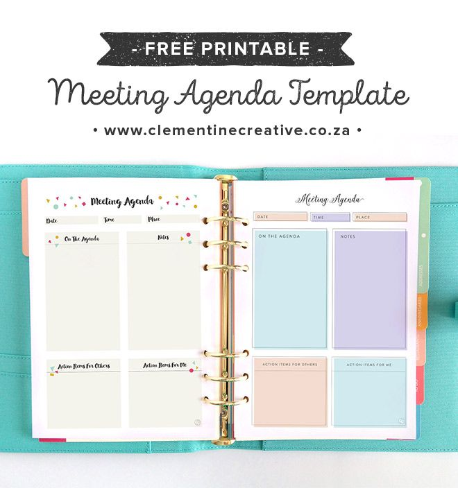 Free Stylish + Feminine Printable Meeting Agenda Template Signs