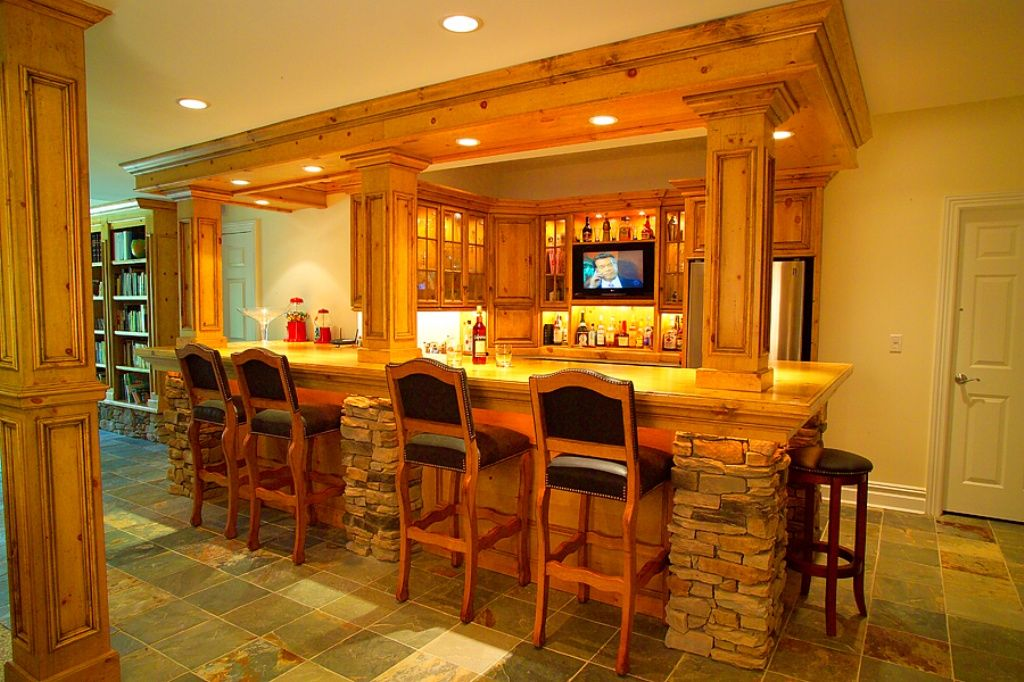The title of this image is Custom Home Bar Designs. It is actually ...