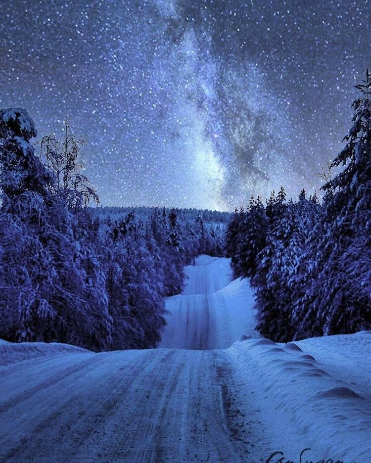 Snowy Road To The Milky Way Winter Photos Winter Scenes Winter Trees