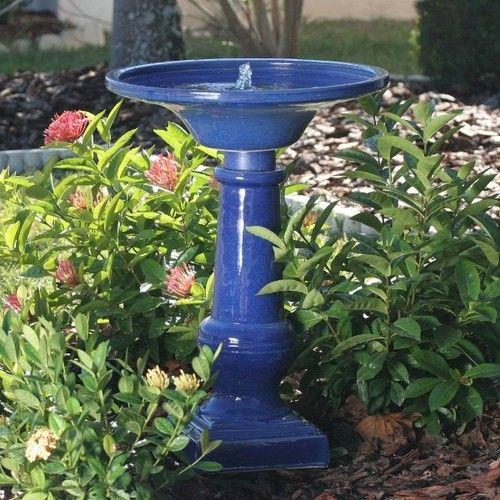 Athena Solar On Demand Outdoor Garden Birdbath Water Fountain Ceramic In  Blue