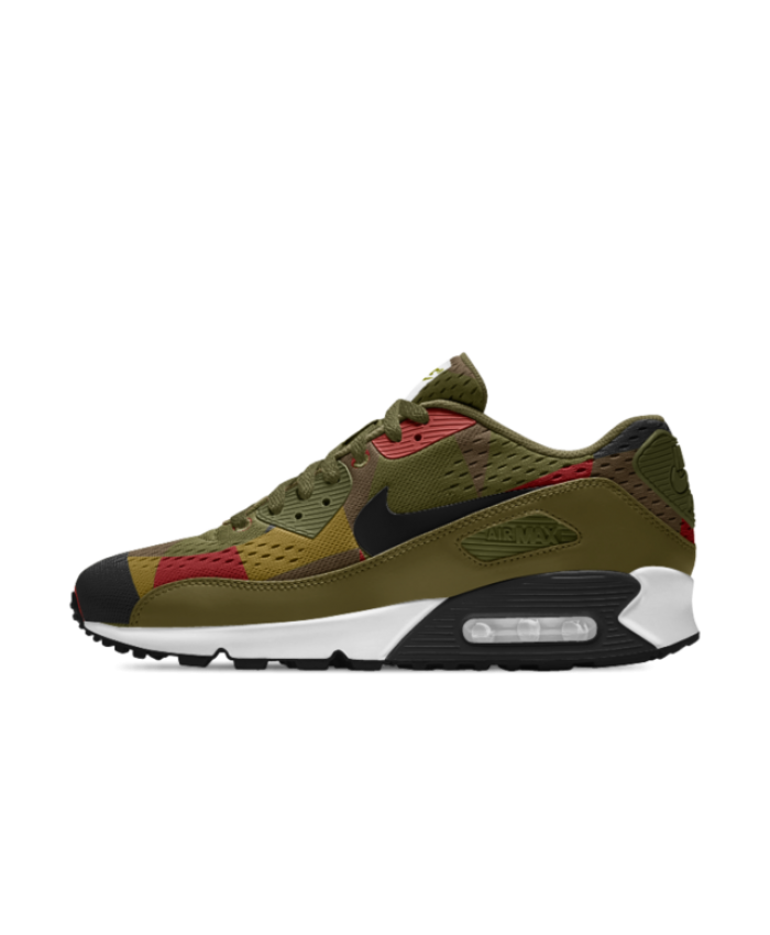 f4833709922e Nike Air Max 90 EM iD Militia Green Team Red Black Mens Shoe