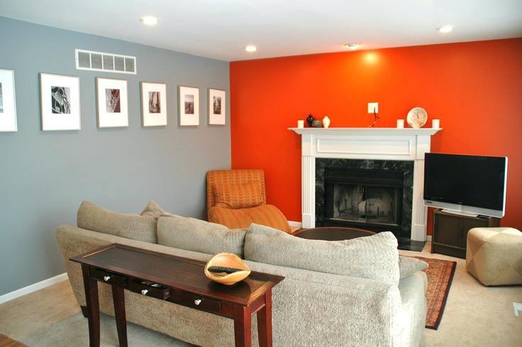 Orange und graue Schlafzimmer-Ideen Pinterest