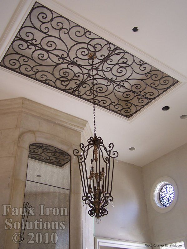 Wrought Iron Ceiling Treatment Faux Light Medallion