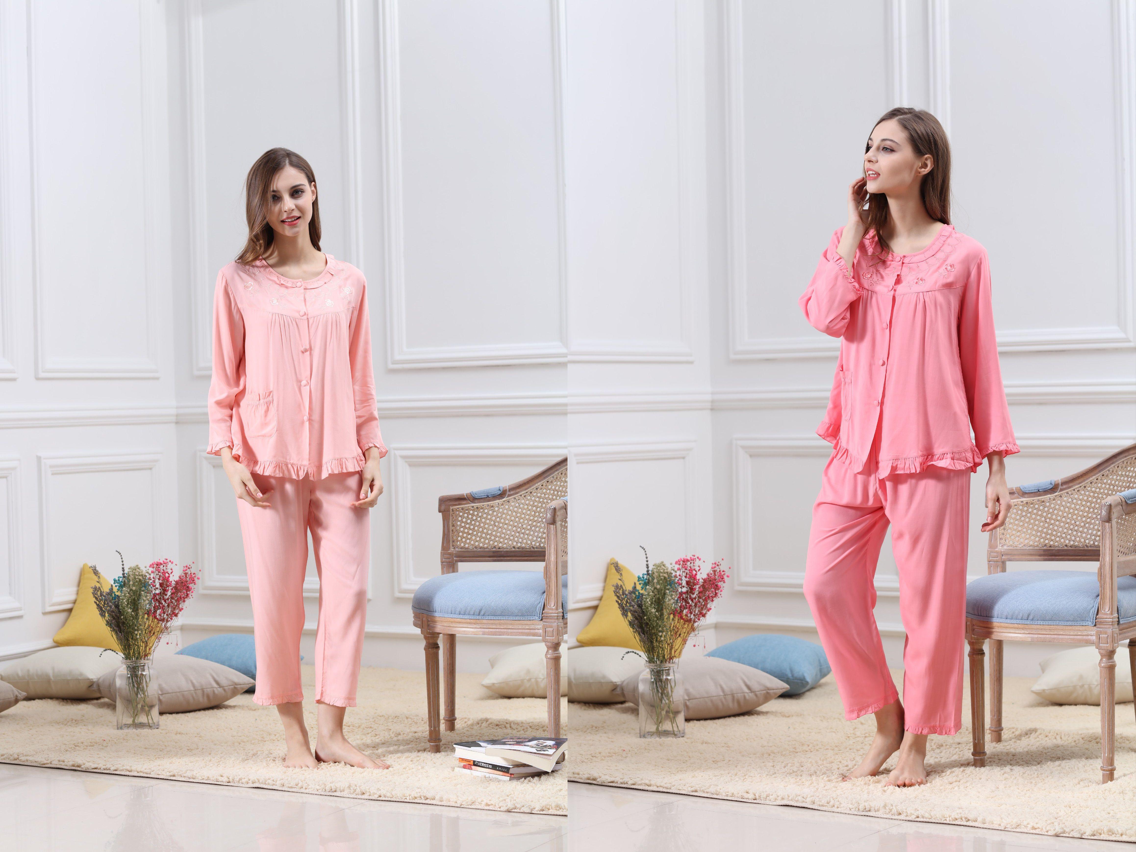 50371b1cf8 Womens  Sleepwear  Cotton  HomeService  LongSleeve  Nightgown ...