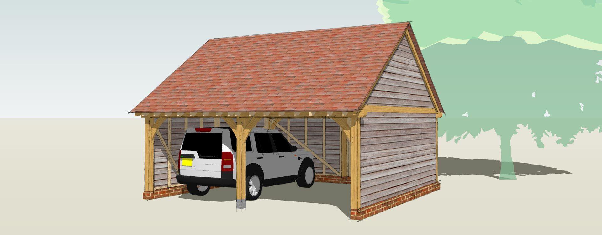 single storey oak framed garage, cotswold Timber garage