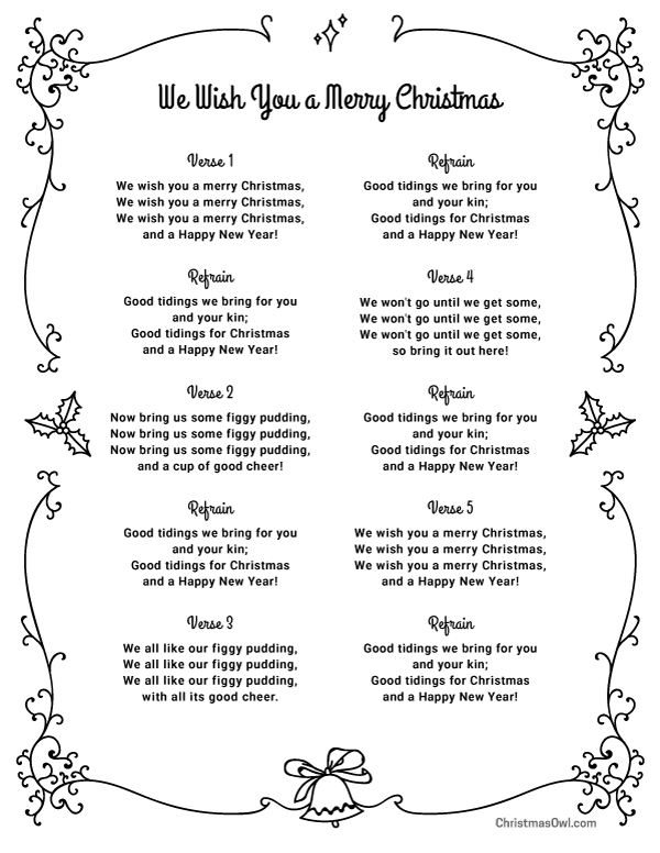 photograph regarding Lyrics to We Wish You a Merry Christmas Printable known as Pin via Muse Printables upon Xmas Printables at