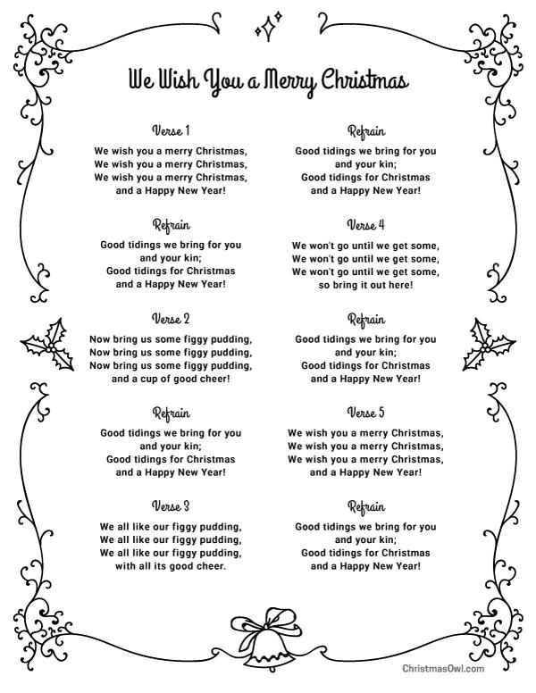 Free printable lyrics for We Wish You a Merry Christmas