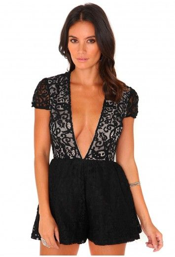 ed2f25e4cf2d Missguided - Golla Lace Deep V Neck Playsuit