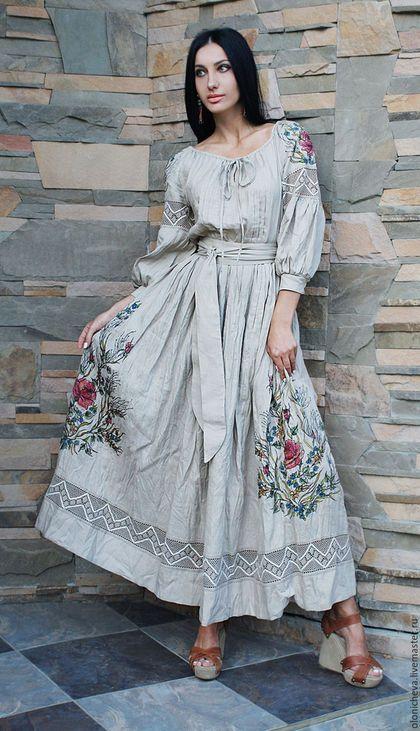 Платья ручной работы. Ярмарка Мастеров - ручная работа. Купить Эксклюзивное льняное  платье с вышивкой и росписью