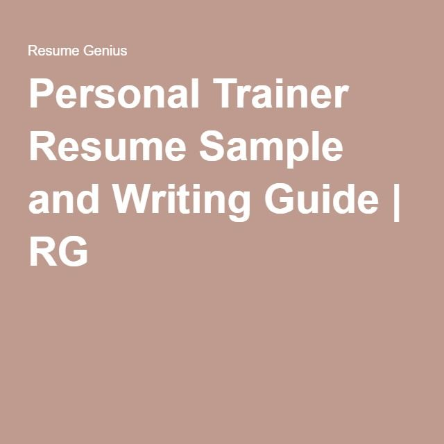 Personal Trainer Resume Sample and Writing Guide RG Health and - it trainer sample resume