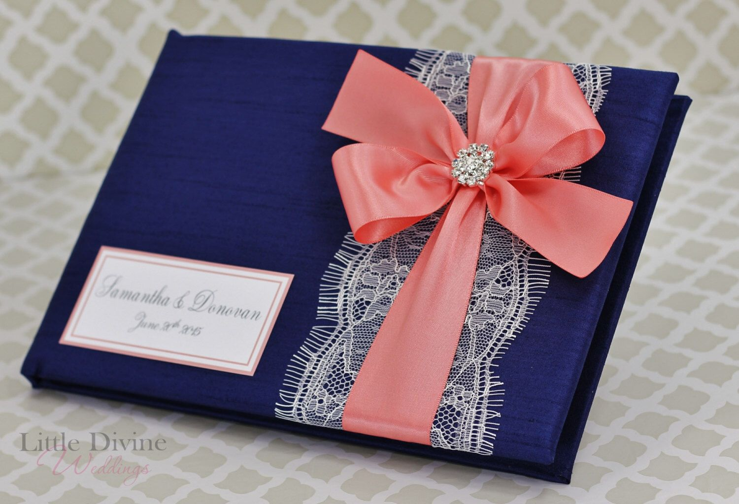 Wedding Invitations Coral Color: Navy Blue And Coral Wedding Guest Book Lace Custom Made In