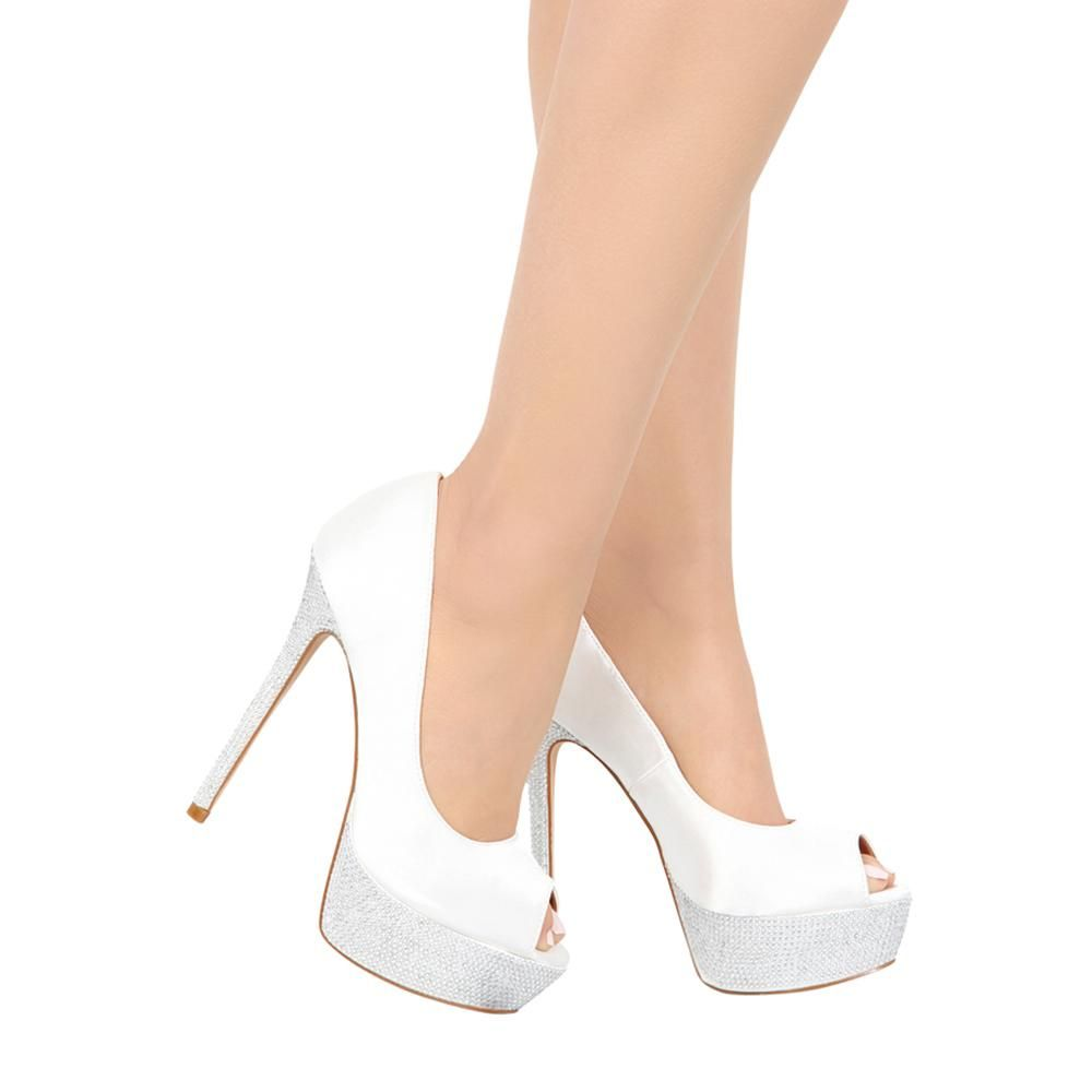for whole family fresh styles great deals 2017 HAILEY-2B White Satin Platform Bridal Shoe- White | Platform ...