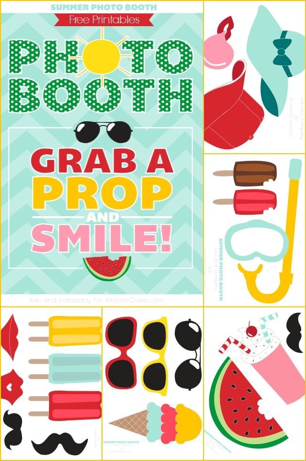 summer photo booth props free printable photo booth props printables pinterest summer. Black Bedroom Furniture Sets. Home Design Ideas