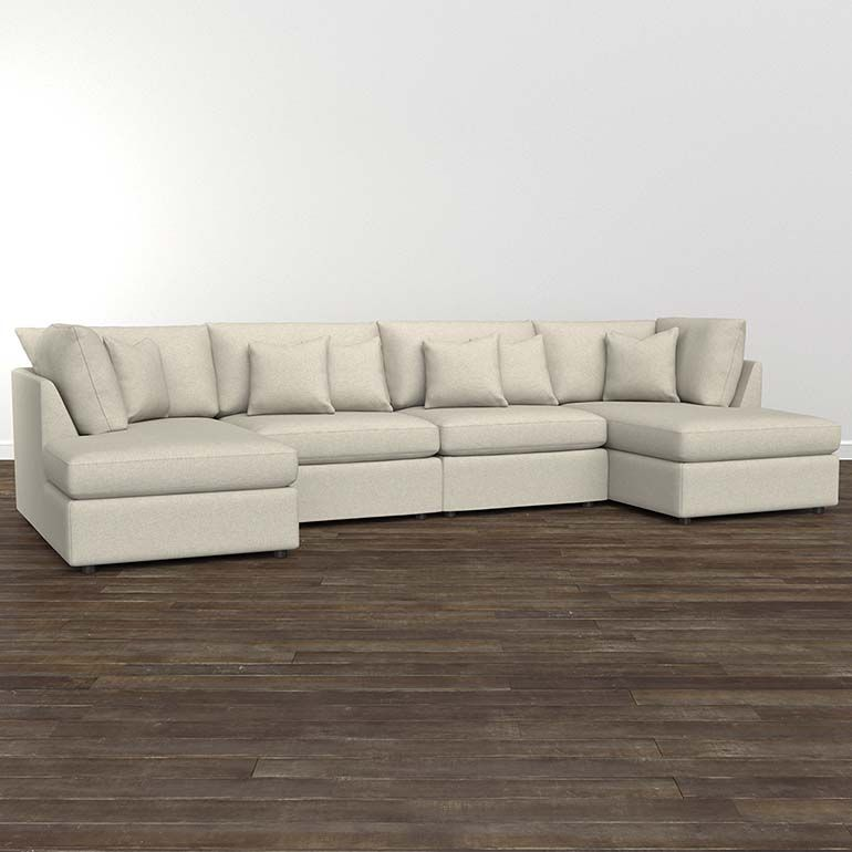 Beckham Double Chaise Sectional Sofa T Cushion In Multiple