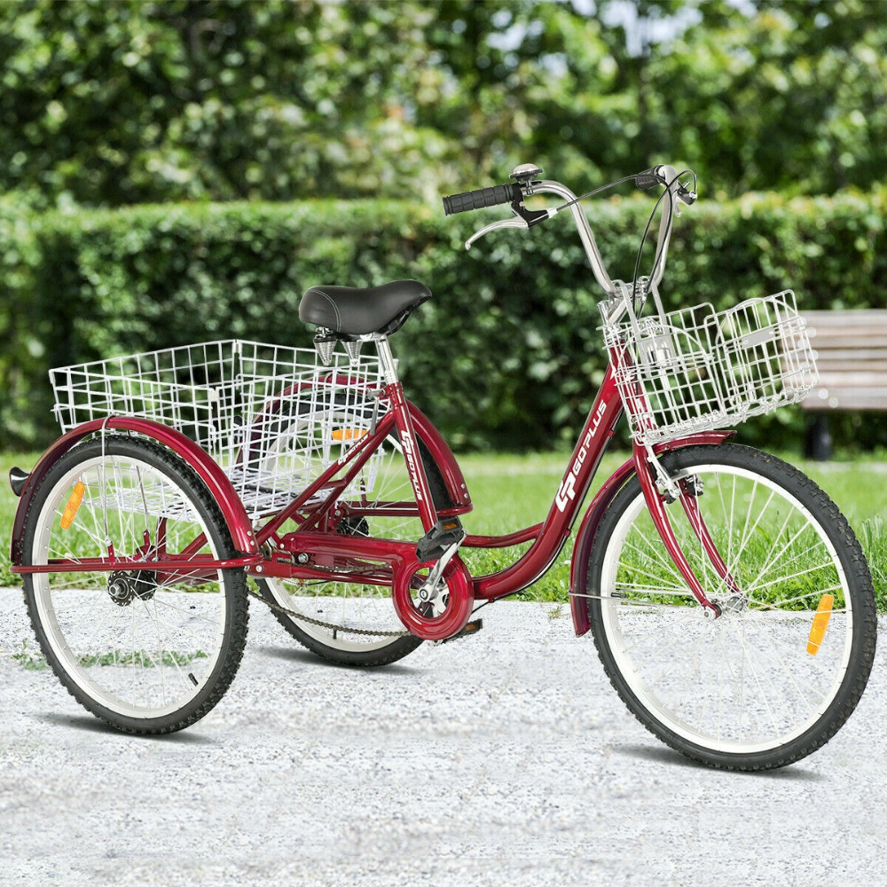 Details About 24 Single Speed 3 Wheel Bicycle Adult Tricycle Red