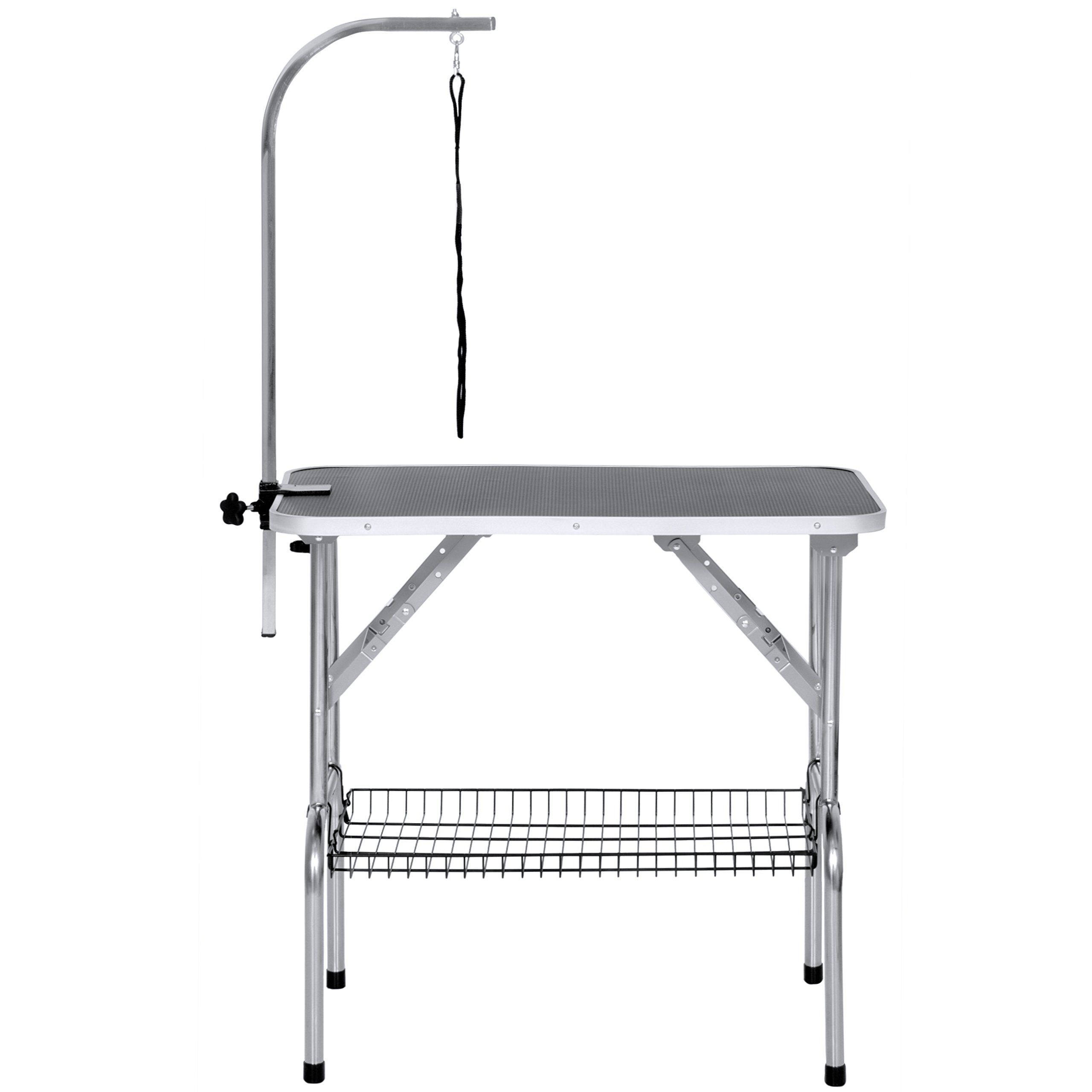 Best Choice Products 21x35in Pet Supplies Folding Cat Dog Grooming Table W Adjustable Clampon Arm Silver Black Lear Cat Grooming Dog Grooming Pet Supplies