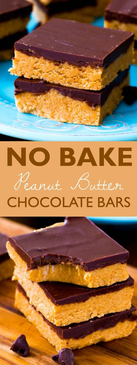 No-Bake Chocolate Peanut Butter Bars | Sally's Baking Addiction #peanutbuttersquares
