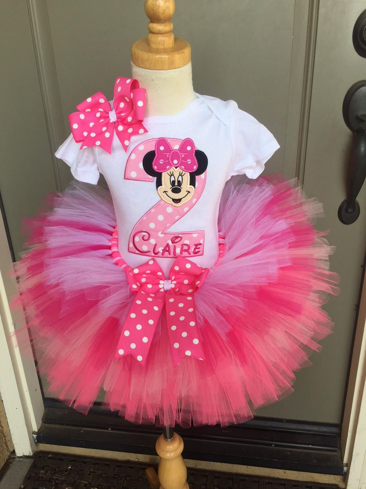 Minnie Mouse Birthday Tutu Outfit Dress Set Handmade 1st 2nd 3rd In Bright Pinks Minnie Mouse Birthday Dress Minnie Mouse Birthday Outfit Birthday Tutu Outfit
