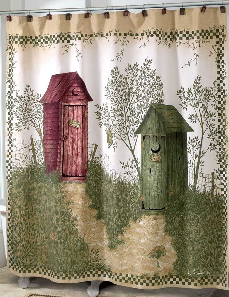 Outhouse Shower CurtainOuthouses Curtain Country Decor Fabric UMRKRCZy