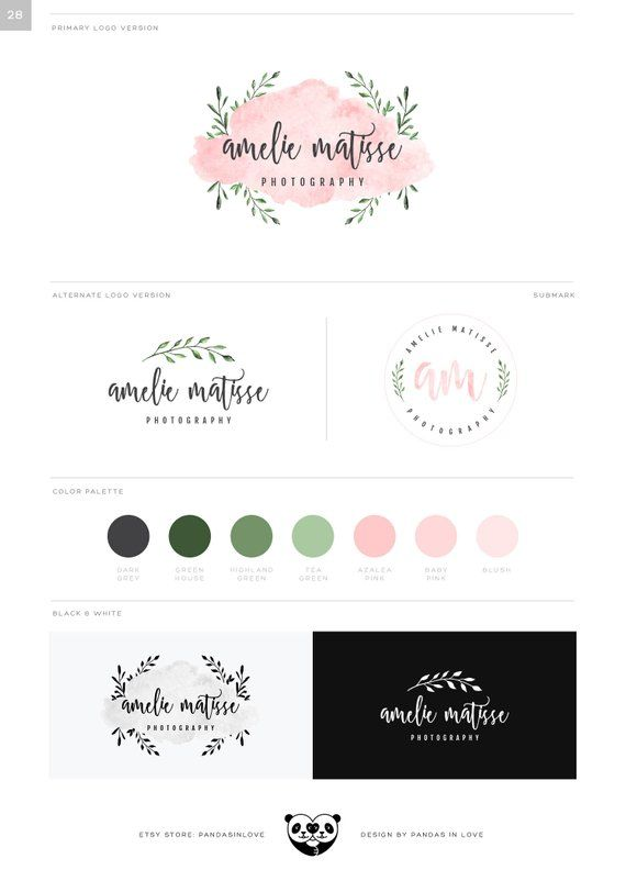 Watercolor Photography Logo Watermark Rose Gold Leaf Floral Logo