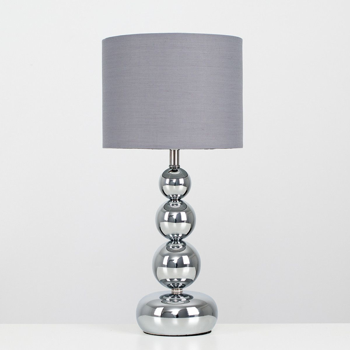 Marissa Chrome Touch Table Lamp With Grey Shade Iconic