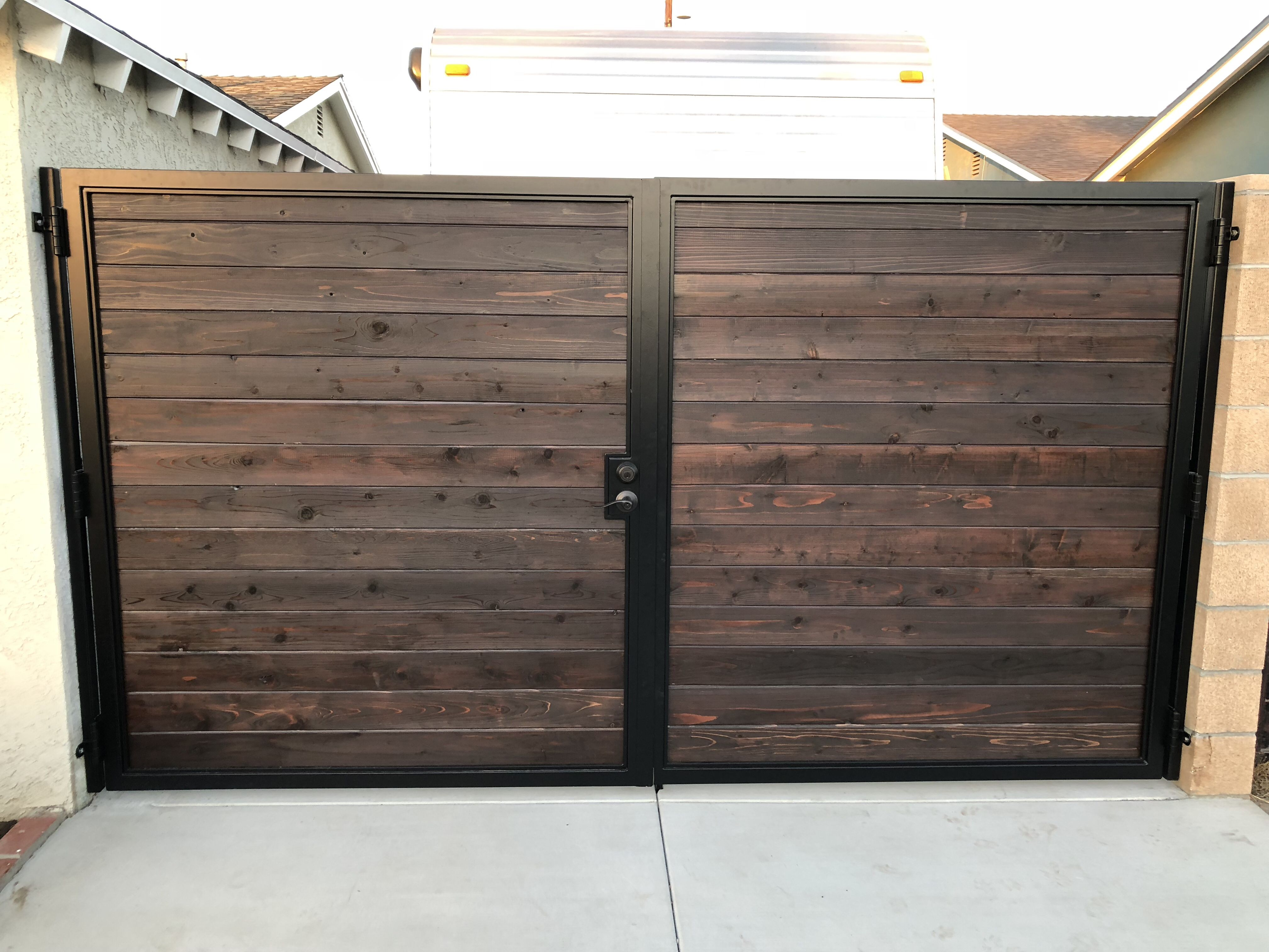 Double Door Gate For Rv Access Frame Is Constructed Out Of Steel