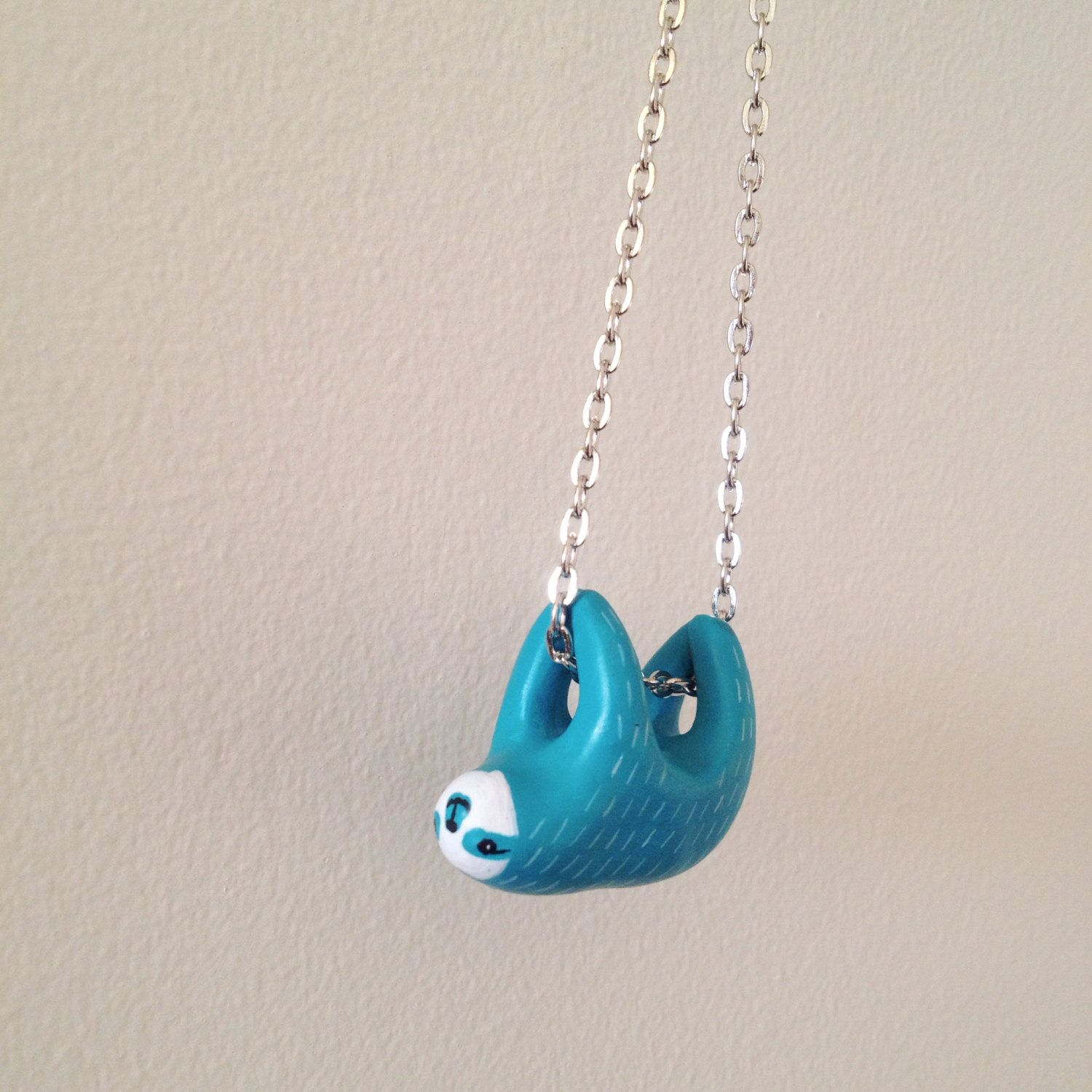 on sloth necklace silver sterling pin sculpted handmade porcelain pendant hanging sleepy ceramic