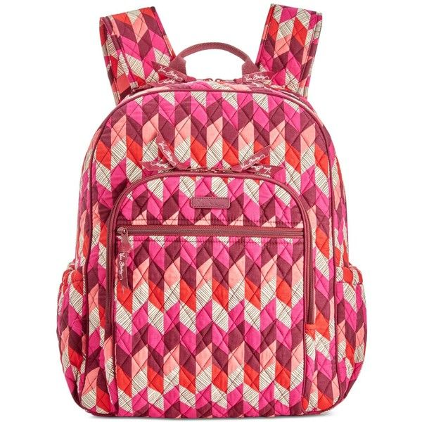 Vera Bradley Campus Backpack ($108) ❤ liked on Polyvore featuring bags, backpacks, bohemian chevron, vera bradley backpack, red backpack, red bag, quilted backpack and bohemian backpack