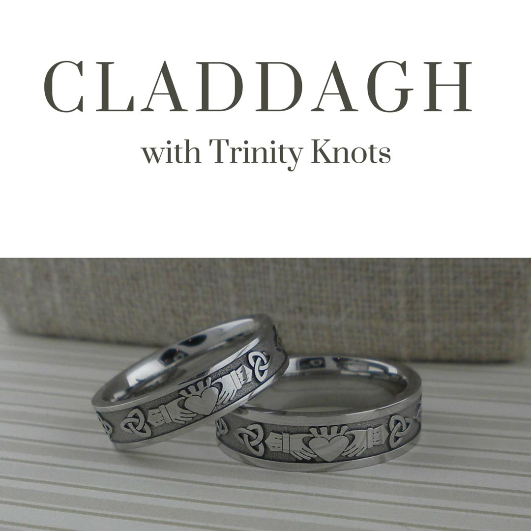 Custom Claddagh Wedding Band with Trinity Knots Wedding