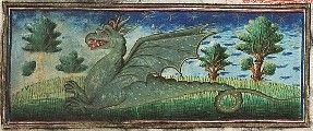 Museum Meermanno, MMW, 10 B 25, Folio 39r A fierce green dragon.