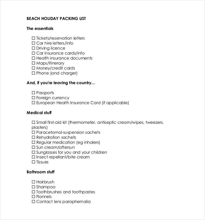 10+ Packing List Templates Word, Excel  PDF Templates www - packing checklist template