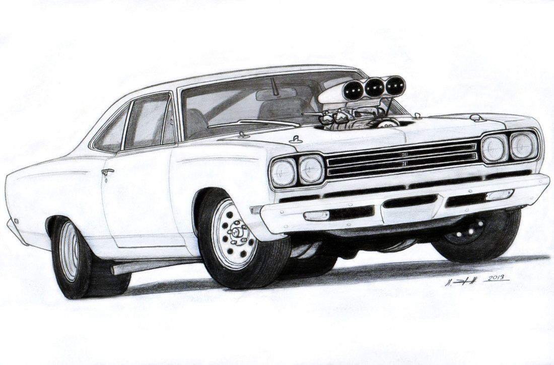 Muscle Car Drawings | 1969 Plymouth Roadrunner Drawing by ...