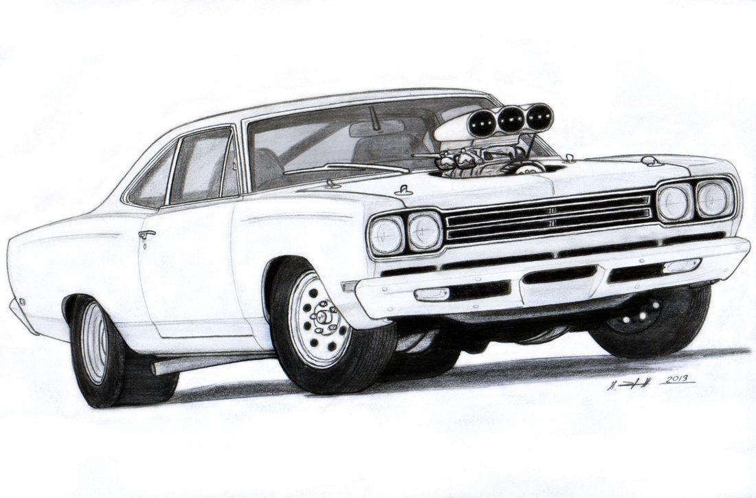 muscle car drawings | 1969 plymouth roadrunner drawing