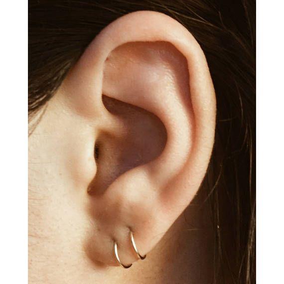Silver tone Tear drop Dark blue acrylic crystal Sleeper Hoop Huggie Earring.