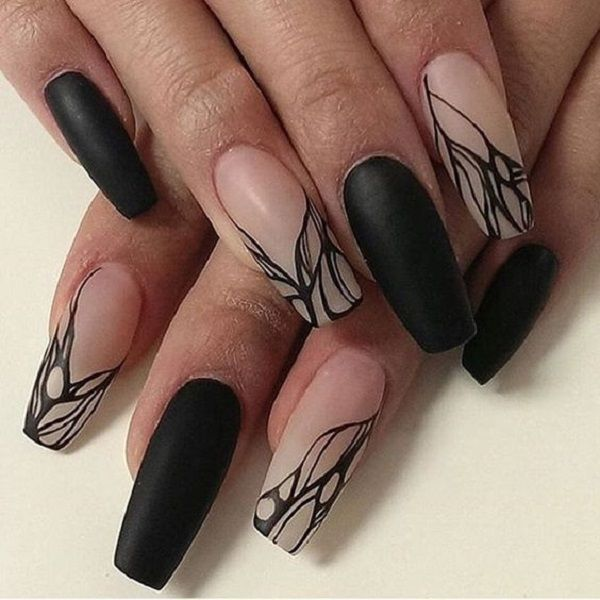 Nude Ombre With Black Nail Art On Coffin Nails The Best Example Of