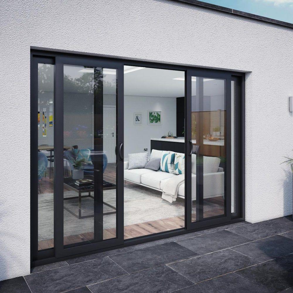 M10 Aluminium Patio Door Set 2990mm X 2090mm 4 Door 2 Centre Sliding Panels In 2020 Sliding Glass Doors Patio Glass Doors Patio Sliding Doors Exterior